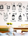 Food & Beverage Food Wall Stickers 3D Wall Stickers Decorative Wall Stickers, Paper Home Decoration Wall Decal Wall