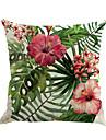 1 pcs Coton / Lin Housse de coussin / Nouveaux Oreillers / Taie d\'oreiller, Fleur / Nouveaute / Mode Fleur / Tropical