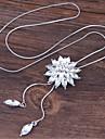 Жен. Цветы Стразы Ожерелья с подвесками  -  Мода Милая европейский Белый Синий 70cm Ожерелье Назначение Для вечеринок