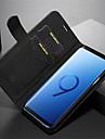 غطاء من أجل Samsung Galaxy S9 Plus / S9 محفظة / حامل البطاقات / قلب غطاء كامل للجسم لون سادة قاسي جلد أصلي إلى S9 / S9 Plus / S8 Plus