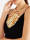 Women\'s Stylish Bib Pendant Necklace Statement Necklace Vintage Necklace Leaf Creative Ladies Unique Design European Oversized Cool Gold Black Silver 37+13.5 cm Necklace Jewelry 1pc For Party