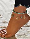 Dámské Tyrkysová Nákotník Kytky dámy Vintage Cikánské Cikánský Nákotník Šperky Tyrkysová Pro Dovolená Jdeme ven