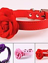 Dogs Collar Portable / Retractable / For Dog / Cat Solid Colored / Flower / Floral PU Leather / Polyurethane Leather Purple / Red / Pink