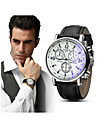 Men\'s Wrist Watch Quartz Leather Black / Blue / Brown Chronograph Creative Casual Watch Analog Bangle Fashion - Brown black Blue Black / White One Year Battery Life