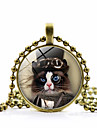 Women\'s Classic Pendant Necklace Cat Ladies Fashion Cute Steampunk Lovely Gold Black Silver 45+5 cm Necklace Jewelry 1pc For Holiday Work