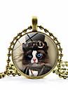 Női Klasszikus Nyaklánc medálok Cat hölgyek Divat aranyos stílus Steampunk Szeretetreméltő Arany Fekete Ezüst 45+5 cm Nyakláncok Ékszerek 1db Kompatibilitás Szabadság Munka